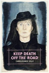 'Keep Death off the Road' campaign poster designed by William Little and issued by the Ministry of Transport, Great Britain, 1946.